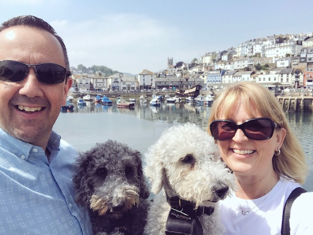 Brixham harbour with dogs