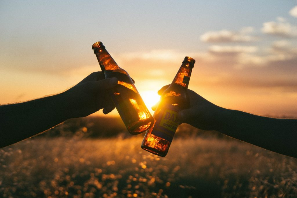 Beer bottles in the sun